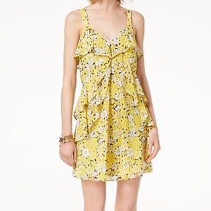 Michael Kors Yellow and Black Floral Ruffle Dress